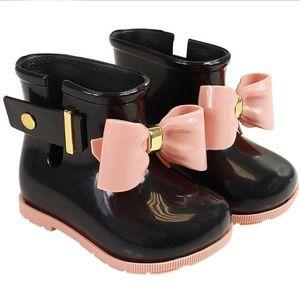 Mini Melissa Girls Black Pink Bow Sugar Rain Boots
